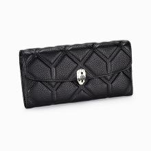 2021 Vollleder-Brieftasche mit Metallknopfprägung