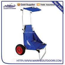 Chariot de plage de vente chaude avec porte-canne, chaise de pêche pliante et chariot de plage pliant avec porte-bagages