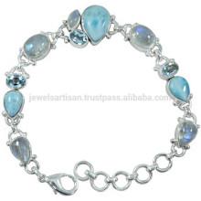 Larimar Regenbogen Moonstone & Blue Topaz mit 925 Silber Kette Link Armband