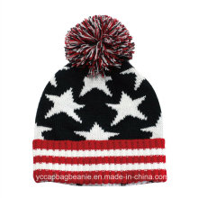 100%Cotton Promotional POM POM Knitted Hat