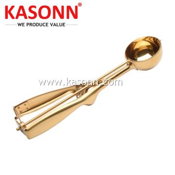 Medium Copper Metal Cookie Scoop with Gold Color