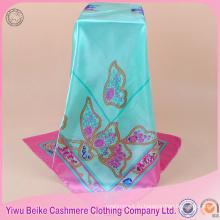 Шелк 2017 новый дизайн бабочка печатных женщин чувство сатин хиджаб шарф
