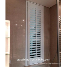 Panel Opening white basswood plantation shutters for bathroom