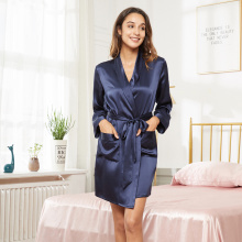 Silk Short-Length Bathrobe Robe With Pockets Wedding Party