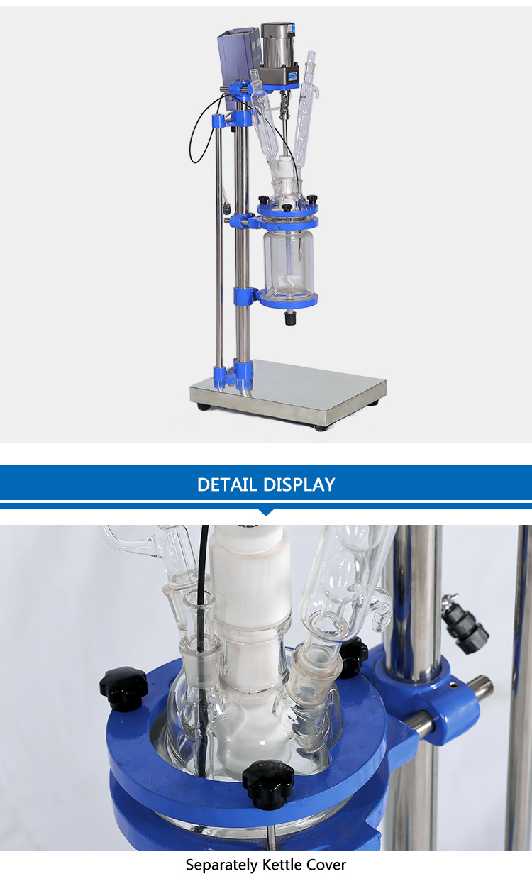 Mini Jacketed Chemical Glass Polymerization Reactor
