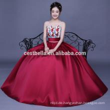 Wein Red Ballkleid Liebsten Perlen Blume Appliqued Quinceanera Kleider Kleider