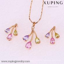 62082-Xuping 18k banhado a ouro colorido mulher latão conjunto de jóias