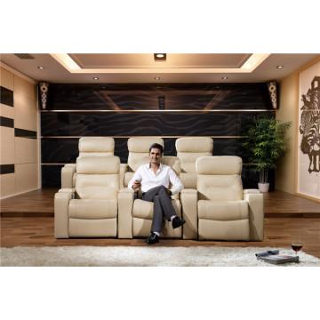 Sofá eléctrico del reclinable del sofá del cuero de la calesa del cuero genuino (795)