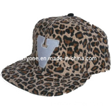 Fashion Leopard Cotton with Flat Embroidery Six Panel Snapback Caps (TF-Sn167)