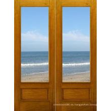 Venta caliente interior sólido puerta de madera con vidrio