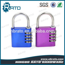 Combination 4 Digital Brass Wheels Cylinder Aluminium Alloy Padlock