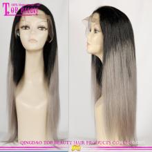 Usine d'approvisionnement direct ombre perruques avec cheveux gris gros cheveux gris lace perruque Perruques de cheveux humains de vente chaude gris