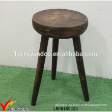 Venta al por mayor apenada ronda madera 3 legged taburete