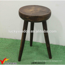 Wholesale Distressed Round Wood 3 Legged Stool