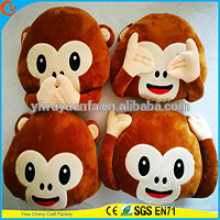 High Quality Popular Various Designs Plush Monkey Emoji Pillow