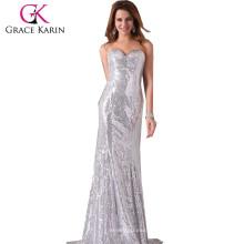 Grace Karin Shinning lentejuelas palabra de longitud vestido de noche sin tirantes cariño V-cuello tarde vestidos de fiesta lentejuelas CL2531-2