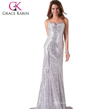 Grace Karin Shinning Sequins Floor-Length Evening Dress Strapless Sweetheart V-Neck Evening party dresses sequin CL2531-2