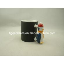 Taza de la manija del pingüino, taza del cambio del color, taza de la manija de Papá Noel