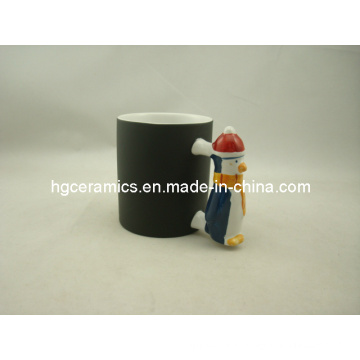 Tasse à poignée Penguin, tasse de changement de couleur, tasse manette de père noël