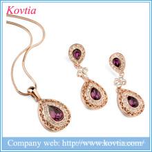 Colar de jóias banhado a ouro quente venda e brincos conjunto conjunto de jóias de fantasia para mulheres