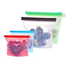 Bolsa hermética con cremallera de silicona para almacenamiento de alimentos