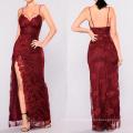 Longue robe rouge de soirée formelle sexy à col en V