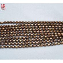 7-8mm Forme de riz Chocolat Couleur Perle d'eau douce Strand (ES187)
