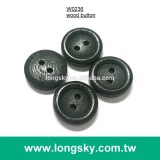 (#W0236) 2 hole classical round natural wooden button for bag