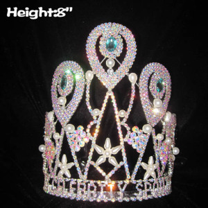 8in Height Rhinestone Crowns With Pearls and AB diamonds