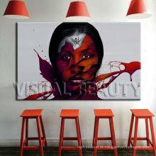 Pintura abstrata do retrato da mulher na lona