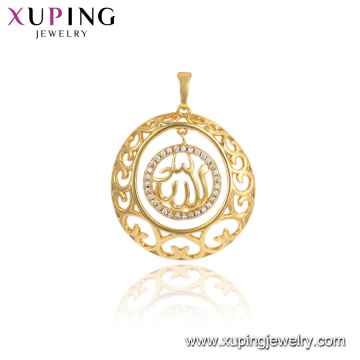 33721 xuping jewelry 24k gold plated round muslim gold allah religious pendants