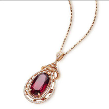 925 Sterling Silver 18k Gold Plated Fashion Ruby Pendnt Necklace