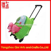 School kids trolley bag soft plush toy trolley backpack