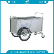 AG-SS025 Mit zwei großen Rädern Krankenhaus Metallrahmen Wäsche Instrument Stahlwagen