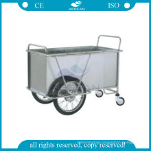 AG-SS025 With two big wheels hospital metal frame laundry instrument steel trolley