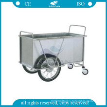 АГ-см ss025 с двумя большими колесами больнице металлический каркас прачечная инструмент стальная вагонетка