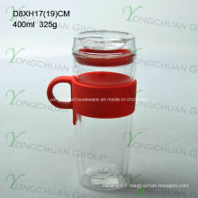 300ml Double Wall Glass Starbucks Coffee Cup with Silicon Lid N6100 Ml Glass