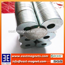 ring type small Zinc coated neodymium magnet with hole for sale