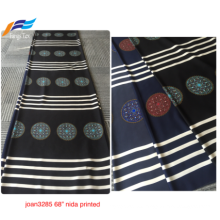 Customized 100% Polyester Nida Printing Digital Black Fabric