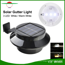 Round LED Solar Gutter Light Fence Garden Lamp with 3PCS High Bright LEDs Outdoor Lightings