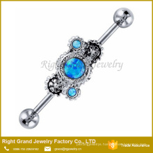 Blue Synthetic Fire Opal Steampunk Surgical Steel Industrial Barbell