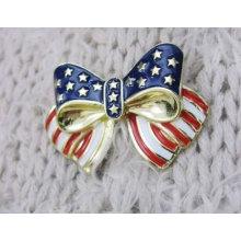 Nova chegada! Moda EUA bandeira broches borboleta projeto padrão broche BH09