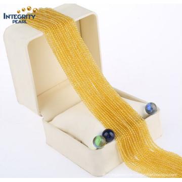 Edelstein-natürliche Quarz-lose Stränge Großhandelsnettes Größe 2mm 3mm helle gelbe Kristallkorne in der Masse
