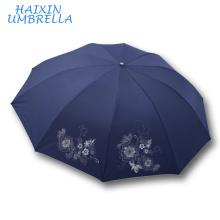 En gros Manuel Ouvert En Plein Air Unbrella Haute Qualité Pas Cher Promotionnel Cadeau Beau Parapluie 3 Fold pour Lady Made in China