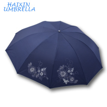 Оптовая ручной Открытый Unbrella высокое качество дешевые рекламные подарок красивый зонт в 3 раза для дамы Сделано в Китае