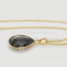 Venta al por mayor de diseñador Negro Onyx piedras preciosas hecho a mano collar de plata