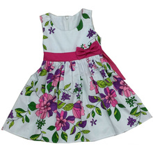 Printed Girl Dress in Hot Sales Children Clothing (SQD-103-Purple)