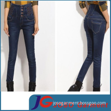 High Waisted Embroidery Women Jeans with Buckle