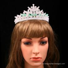 Corona directa de la piedra del claro de la tiara del Rhinestone de la fábrica para la boda
