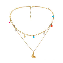 Stainless steel necklace colourful beads double layer clavicle chain simple fashion butterfly pendant jewelry
